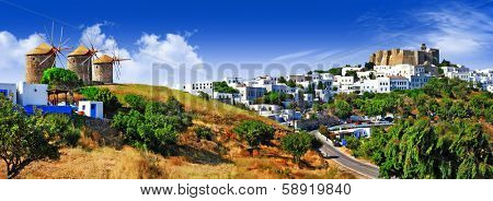 panorama of scenic Patmos island. view of Chora and windmills ,