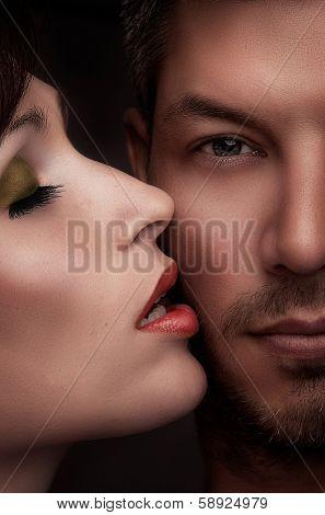 romantic valentine kissing couple