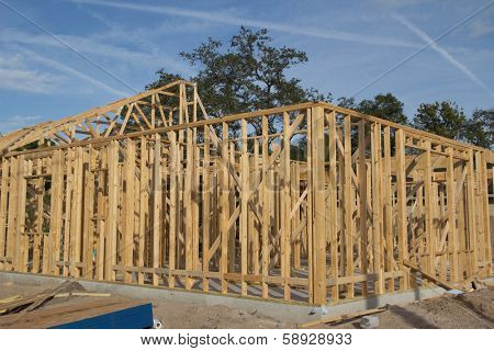 JACKSONVILLE, FLORIDA, USA-SEPTEMBER 15, 2013: A new home under construction in Florida. New home sales fell 6.6 percent in September to a 354,000 annual rate, the weakest since April 2012.
