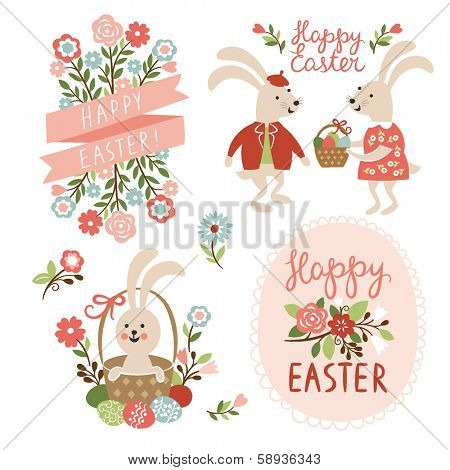 Set of Easter cards illustrations