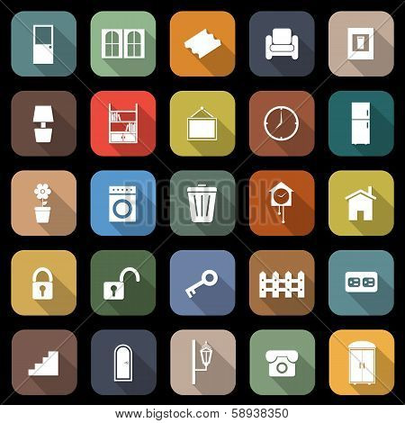 House Related Flat Icons With Long Shadow