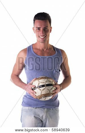 Smiling Young Man In Tanktop Holding Soccer Ball