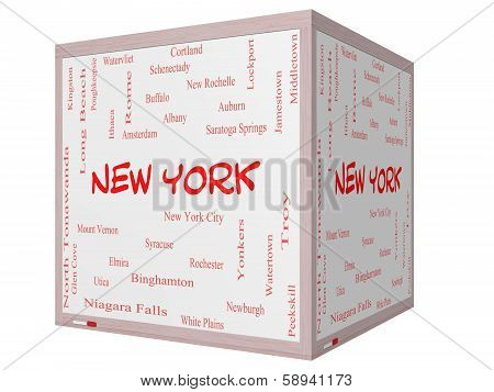 New York State Word Cloud Concept On A 3D Cube Whiteboard