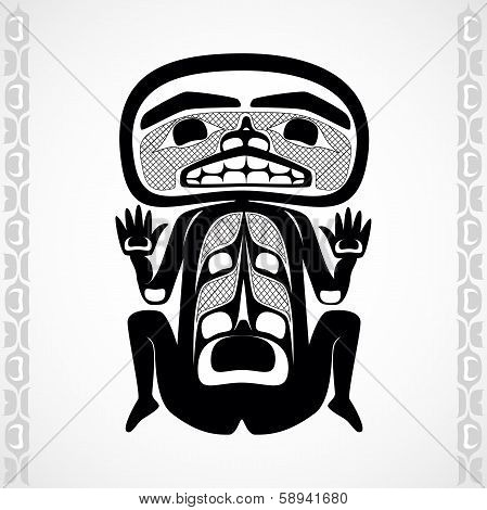 Vector illustration of a man. Modern stylization of North American and Canadian native art in black and white poster