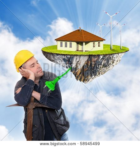 Construction worker dreaming. Modern technology concept.