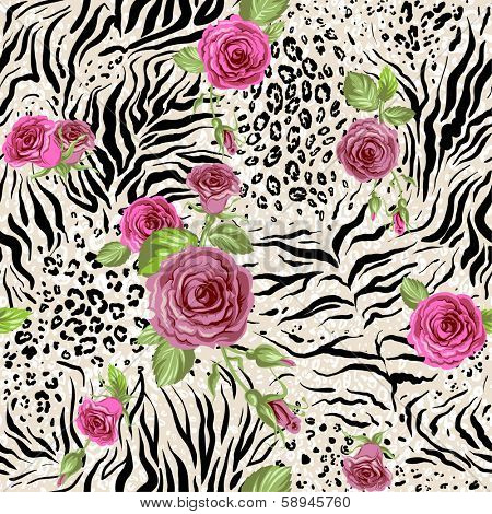 Rose on animal abstract print. Seamless pattern