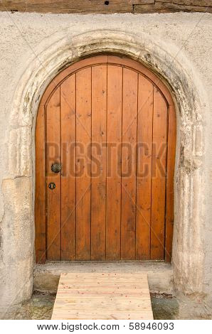 Old Wooden Front Door In Tuebingen, Germany