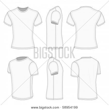 All views men's white short sleeve t-shirt design templates (front, back, half-turned and side views). Vector illustration. No mesh. Redact very easy!