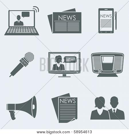 Vector illustration of icons on a theme the news