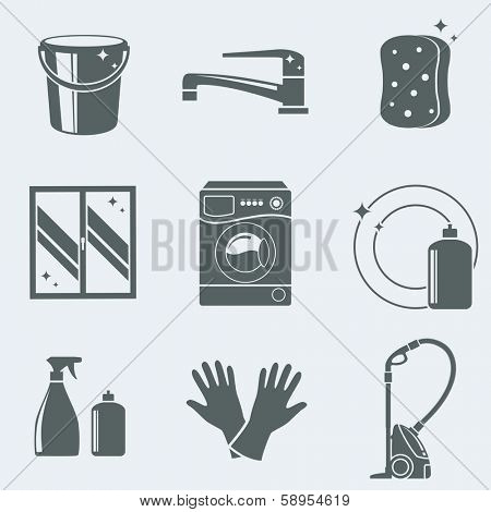 Vector illustration of icons on a theme of cleaning