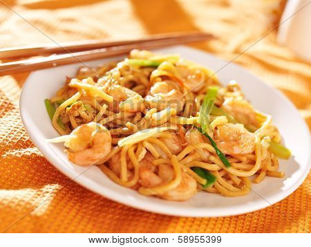 chinese shrimp lo mein with chopsticks