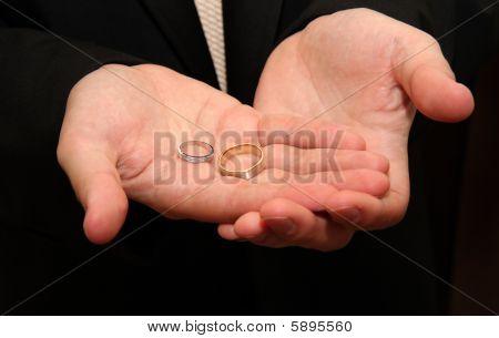 Groom Holds Wedding Rings