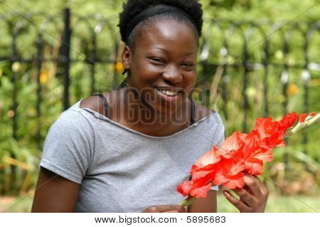 Smiling With Flowers