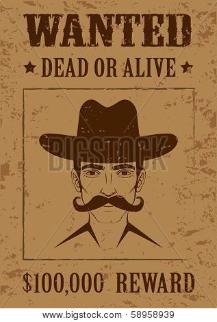 vintage western vector poster, wanted dead or alive,  cowboy face, poster