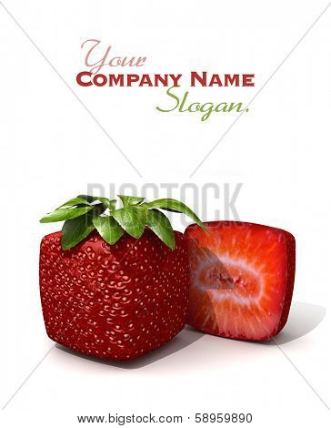 3D rendering of a cubic strawberry and a half against a white background