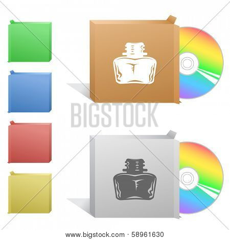 Inkstand. Box with compact disc. Raster illustration. Vector version is in my portfolio.