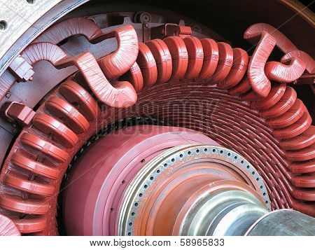 Electric Power Generator And Steam Turbine During Repair
