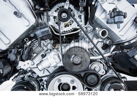 Car Engine - Modern powerful car engine(motor unit - clean and shiny
