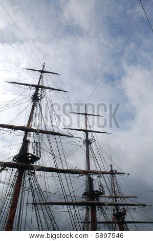 3 Masts against a darkening sky in Belfast poster