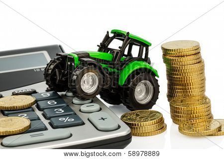 farmers in agriculture have to reckon with rising costs. higher prices for feed, fertilizer and plants. tractor with coins and calculator