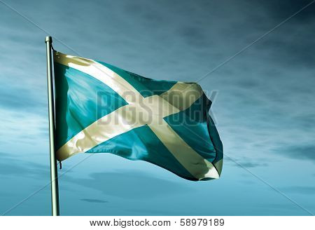 Scotland flag waving on the wind