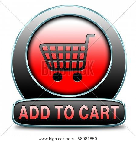 Add to shopping cart now sign go to the online webshop button, internet web shopping icon