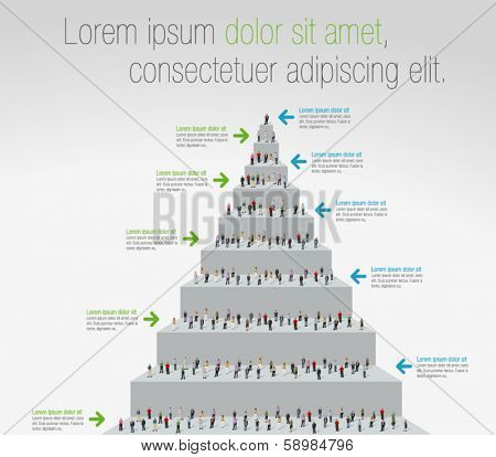 Template for advertising brochure with business people on stair