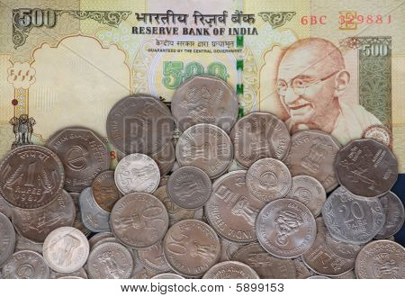 500 Rs Note And Coins