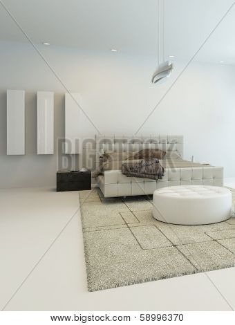 Pure white bedroom interior with king-size bed