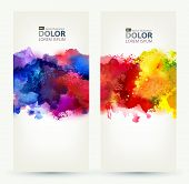 Two headers. Bright watercolor stains  poster