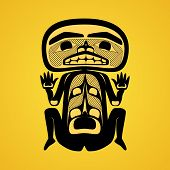 Vector illustration of a man. Modern stylization of North American and Canadian native art in traditional colors poster
