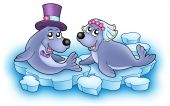 Wedding image with cute seals - color illustration. poster
