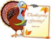 Illustration of a Turkey Thanksgiving Holiday Note poster