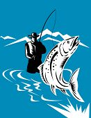 vector illustration of a Fly fisherman caching a trout poster