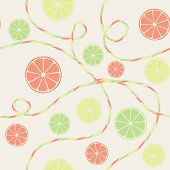 Citrus seamless pattern with orange lemon and lime background poster