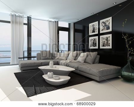 Lounge interior with a dark accent wall and floor-to-ceiling window overlooking the ocean furnished with a comfortable beige lounge suite and modern tables