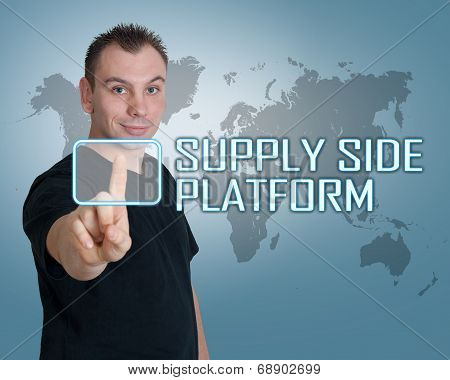 Young man press digital Supply Side Platform button on interface in front of him poster