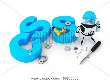 Robot With Css Sign. Technology Concept. Isolated. Contains Clipping Path