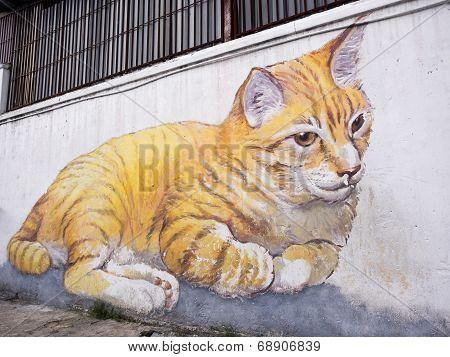 Giant Cat Mural In Georgetown, Penang, Malaysia