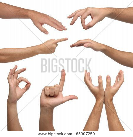 Collage of male hands signs on white
