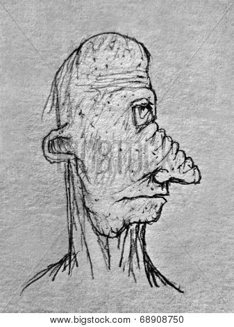 Side View Old Man Portrait Pencil Drawing Illustration