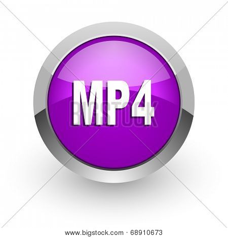 mp4 pink glossy web icon