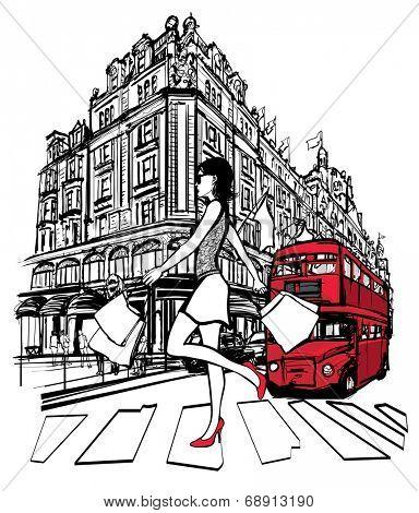 Woman shopping in London -  vector illustration