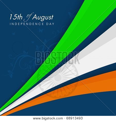 National tricolors stripes with Asoka wheel on blue background for Indian Independence Day celebrations.