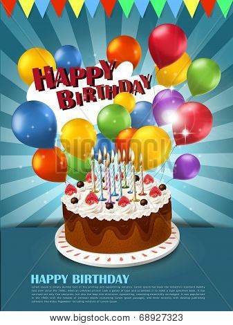 colorful happy birthday celebration poster template with cake balloons elements poster