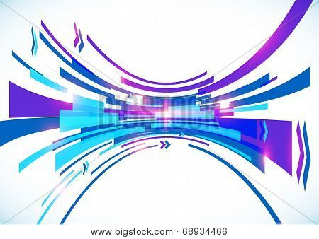 Blue perspective bow lines vector abstract background poster