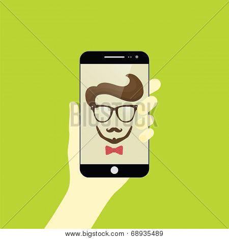 Vector illustration of guy taking a self snapshot. Selfie poster