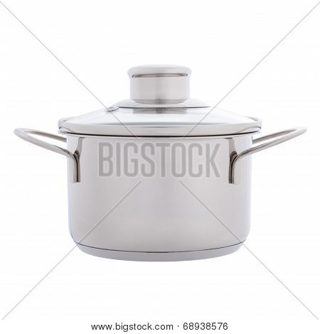 Side view of small stainless steel pan isolated on white