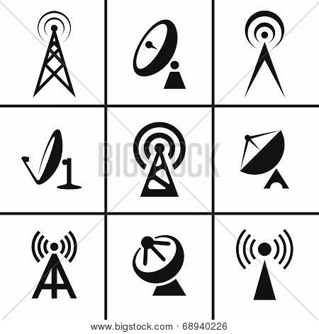 Antenna and satellite dish icons set