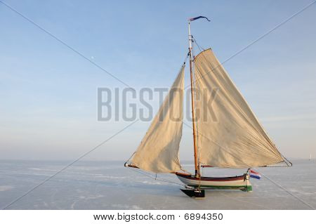 Traditional Ice Yacht In The Netherlands